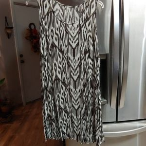 Brown and Ivory Crinkle Dress